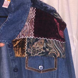 Denim Jacket with Velvet Detailing